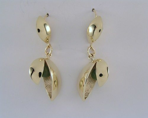 Gold and jade opening pod earrings